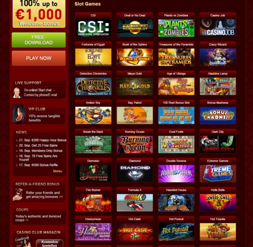 CasinoClub The offer at the Casino Club in the test: It left nothing to be desired