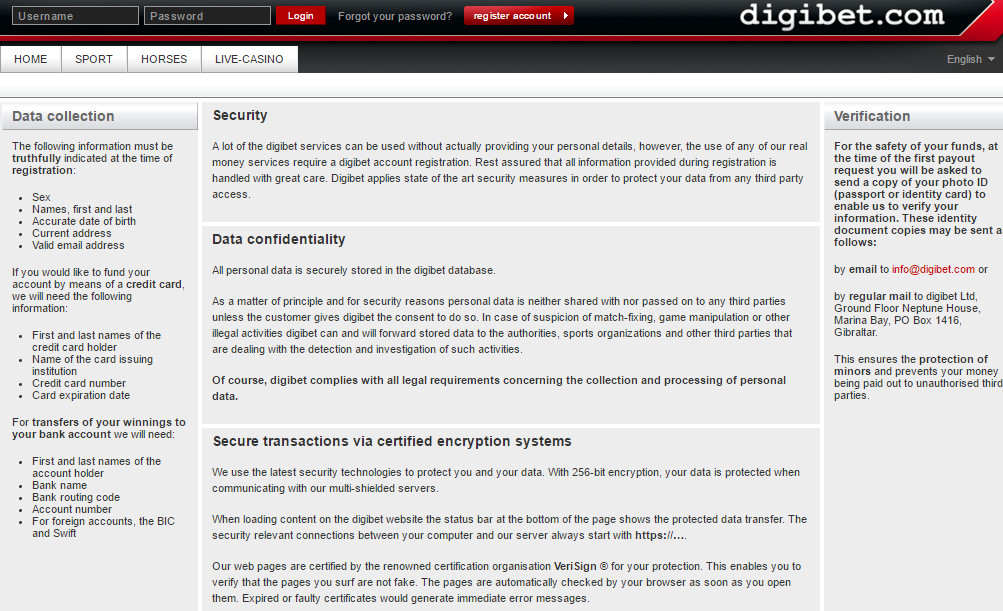 Digibet General information about the Digibet Odds