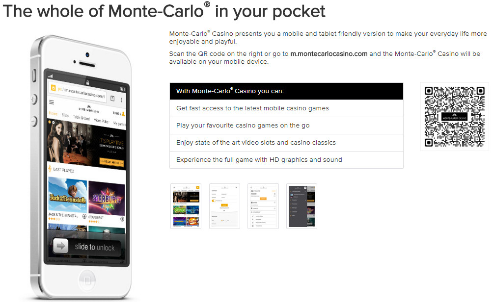 MonteCarloCasino Website usability - clear, simple, clear