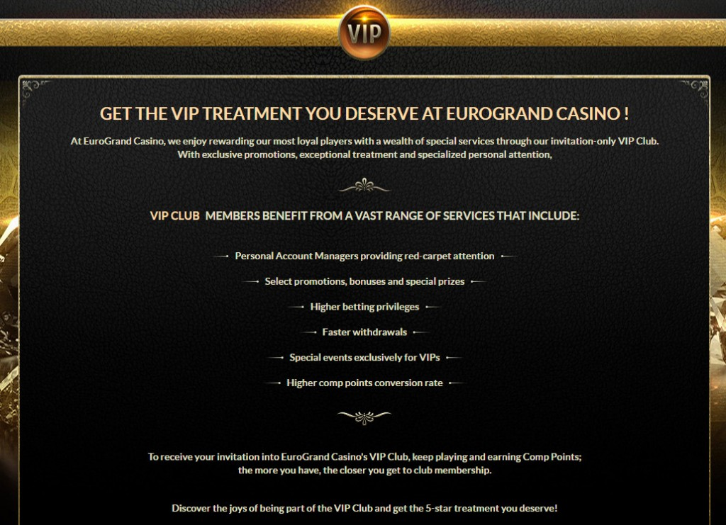 EuroGrand Loyalty program and VIP Club: For all players the best